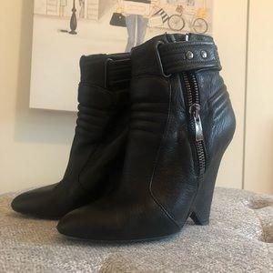Kurt Geiger black leather wedges booties